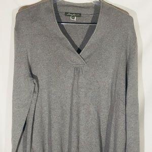 Eddie Bauer Gray Tunic Sweater V-neck Plus 1X Warm